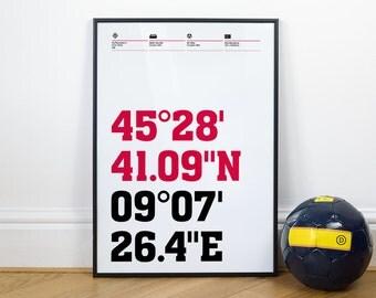 Milan Football Stadium Coordinates Posters