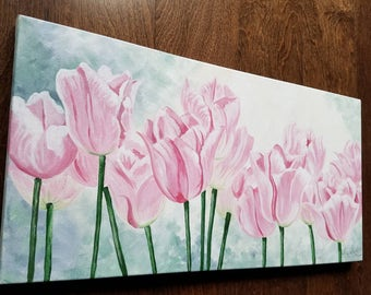Spring Tulip floral painting by Pamela Henry contemporary floral art pinks greens greys wall decor