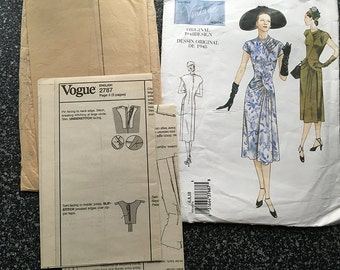 Vogue V2787 1940s WWII Style A-Line Vintage Dress Sewing Pattern Size 6, 8 and 10 UNCUT