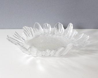 Lindshammar Sweden Ice Glass Serving Platter Bowl Mid Century