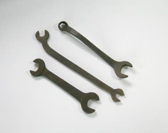 3 Industrial Forged Wrenches, Antique Steampunk