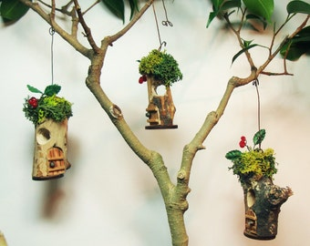 "Fairy House ornaments, set of 3 (#9);  1"" d.  Indoor, outdoor, Fairy Garden, Tree ornaments"