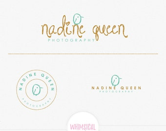 lovely bird photography logo - Watercolor Logo Design Branding Package Inc. feminine children - Photographer package Script Watercolor Logo