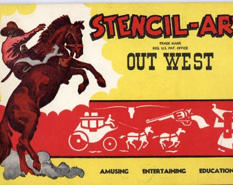 1950s Stencil-Art book, Out West, Cowboy theme stencils! Stagecoach, Colt revolver, Rodeo, Saddle