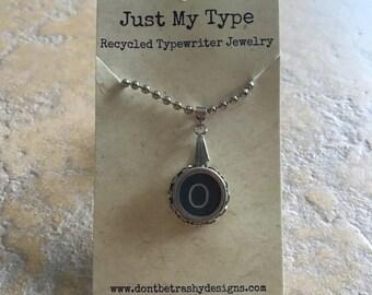 Vintage Typewriter Key Necklace - O