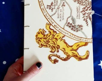 Lion Coptic Stitch Sketchbook: blank pages, handmade, journal, lithography, printmaking, bookmaking, hand bound, sewn