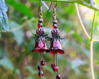 Lucite Earrings, Flower Earrings, Copper Poppy, Victorian Earrings, Boho Earrings, Drop Earrings, Red Flower Earrings, Mother's Day Gift