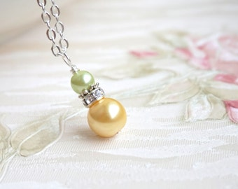Wedding Jewelry for Bridesmaids Yellow Green Necklace Flower Girl Necklace Bridesmaid Necklace Spring Wedding Summer Wedding Bridesmaid Gift