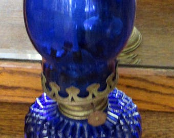 Cobalt blue oil lamp