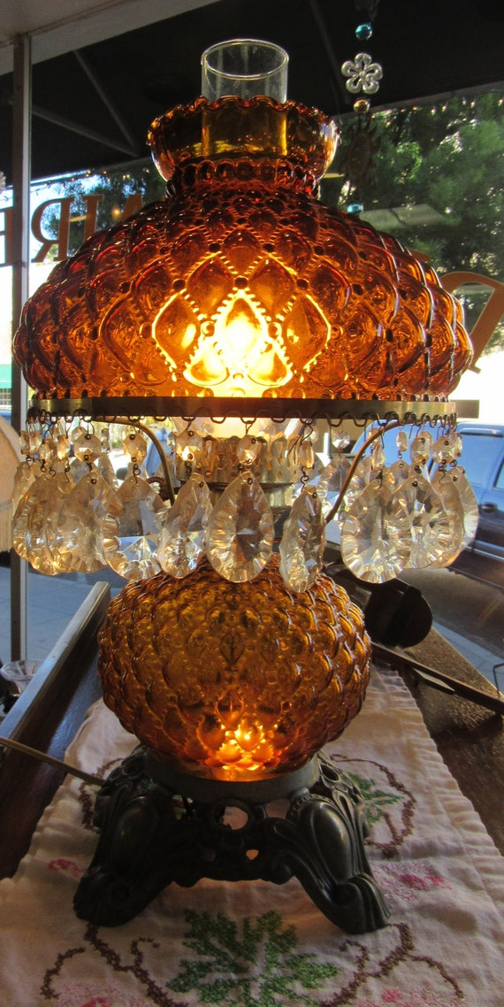 Amber Hurricane lamp Gone With The Wind with glass prisms