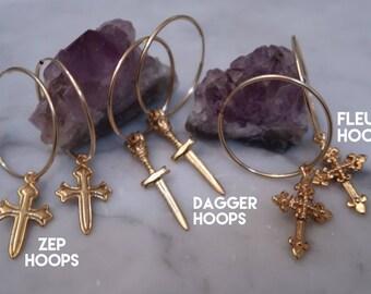 CROSS HOOPS, Zep Cross, Fleur Cross, Dagger Cross, Gold hoops, dagger earrings, dagger pendant, cross charm, gold earrings, hoop earrings