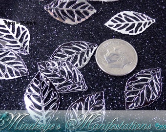 40 Silver Tone Laser Cut Leaf Pendants 23.5x14mm