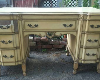 Antique French Provincial Vanity Desk Bedroom Office Country French Chic Cottage Customize Painted Furniture