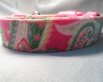 Hot Pink Paisley Dog Collar