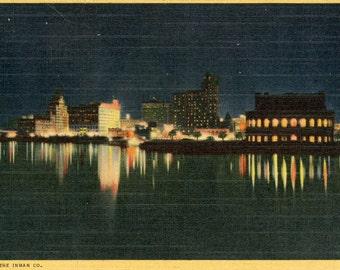 1953 Postcard Of Long Beach, California Harbor At Night