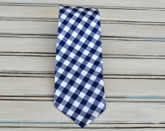 Navy Blue Gingham Tie for Men, Youth, Boys