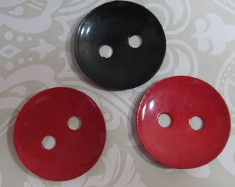 Red and Black large buttons; 2 red buttons and 1 black vintage buttons; 1930's