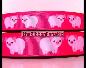 """5 yds 5/8"""" and 7/8"""" Perfectly Pink Piglets Pigs Pig Grosgrain Ribbon"""