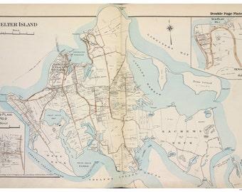 Shelter Island - 1916 - Long Island New York - Suffolk Co Atlas V2  Southampton Town Map Reprint LI NY