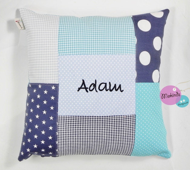 Pillow With Name Blautöne-white Light Blue Dots & Stars
