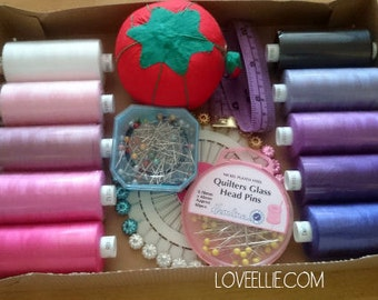 Thread and Pins Gift Set - Pinks & Purples - Sewing thread, tomato pin cushion, sewing pins, tape measure gift box