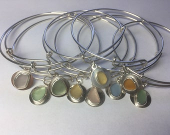 Sea Glass Bangle Bracelets Adjustable Genuine Mermaid Jewelry
