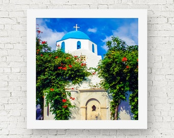 Greece prints, Greece photography, travel prints, Greece wall art, Paros Greece photo, Greek church wall art, square print, travel wall art