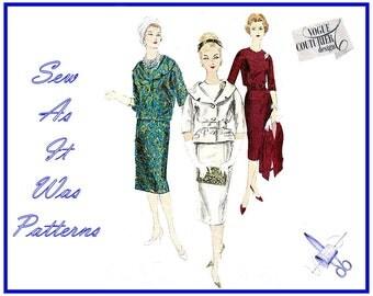 1950s FF Unused Vogue Couturier Design 184 Sheath Dress Belt Shawl Collar Short Jacket Kimono Sleeves Vintage Sewing Pattern Size 14 Bust 36