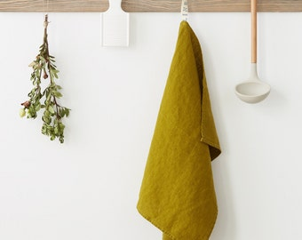 Moss Green Stone Washed Linen Tea Towel