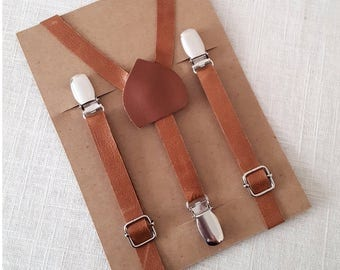 FREE U.S SHIPPING... 100% Leather Suspenders, Boys Leather Suspenders, Brown Leather Suspenders, Men's Leather Suspenders