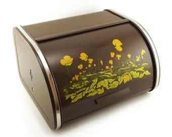 Retro Brabantia Bread Box / Roll Top Bread bin. Chocolate brown 70's Dutch Kitchenware. Yellow orange buttercup floral pattern.
