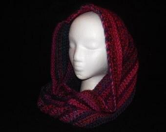 Crocheted Infinity Scarf Multi-Colored ~Fuchsia~