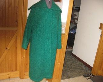 Ladies Mod Mohair 60s Lg Round Collar big buton Coat Kelly Green Sm/ Med elegant mod shaggy mohair coat free shp
