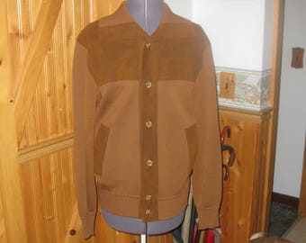 Mens Vtg madmen St Croix Knit button front collared cardigan brown 100 zephr wool Excellent Med Free ship