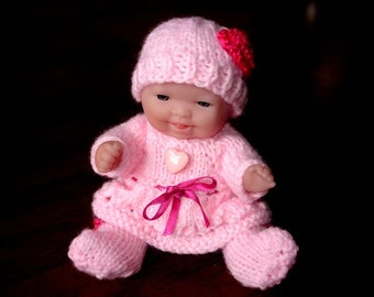 "Lots To Love, Berenguer, Miniature Tiny Doll - Too Cute For Words Baby - 5"" Tall - Pink Hand Knit Dress"