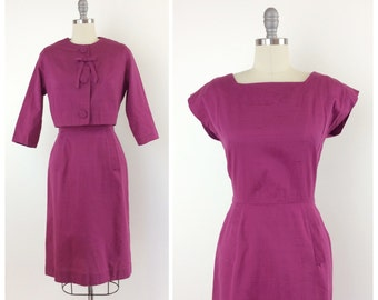 50s Magenta Cotton Linen Dress and Jacket Set / 1950s Vintage Cotton Sun Dress / Medium / Size 6