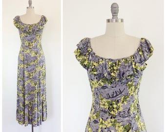 40s Grey Hawaiian Novelty Print Rayon Dress / 1940s Vintage VLV Long Gown / Medium / Size 8