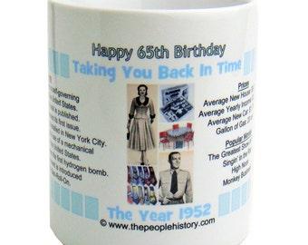 Pre-Made 1952 Birthday Message Mug - Happy 65th Birthday