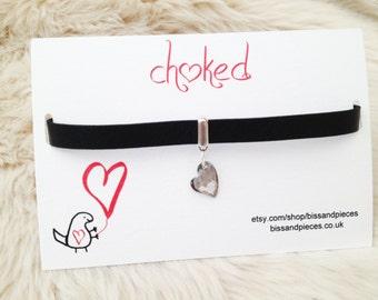 Grey / black Swarovski elements devoted to u heart  leather choker on a cute dinosaur gift card.