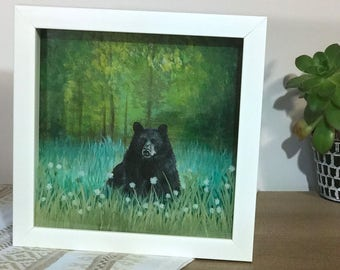 Black Bear Acrylic Painting, painted on canvas paper in white Shadowbox *Frame included* painting on glass also.