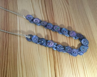 Native Pacific Northwest Abalone shell Button Necklace