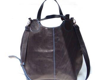 Dark blue leather bag