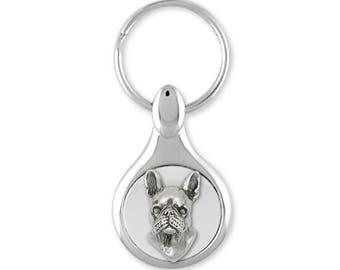 Boston Terrier Key Ring Jewelry Sterling Silver Handmade Dog Key Ring BT5-KE