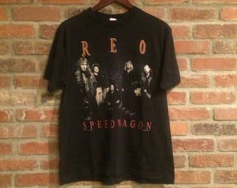 Vintage Black REO Speedwagon World Tour 1990-1991 Shirt Made in USA Winterland