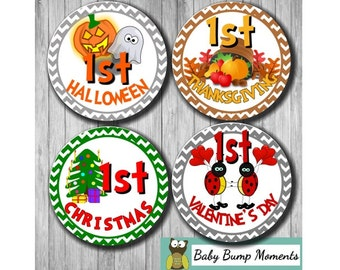First Holiday Stickers, Baby Holiday Sticker, First ,  Gift for New Mom, Baby Milestones