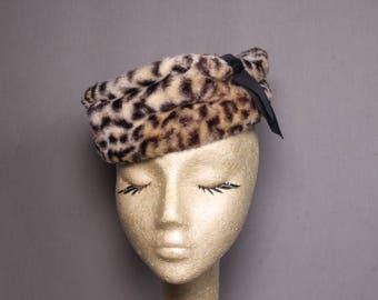 """Faux Fur Leopard Torque Style Vintage Hat """"Jackie"""" Style"""