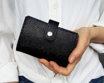Black leather card holder for 20 cards. Leather card case. Card wallet leather. Gift under 25.