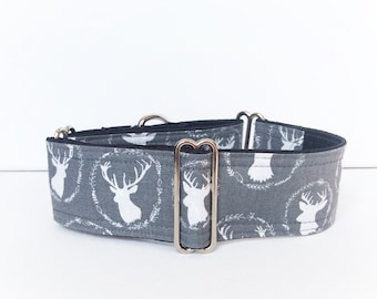 My Deer martingale collar (dog collar, greyhound martingale,  hipster shabby chic deers proud grey white country vacation weekend chalet)