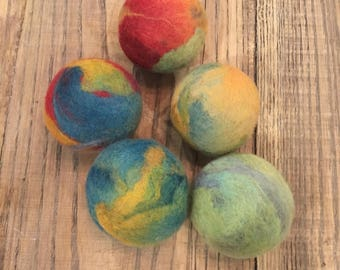 Felted Organic Wool Dryer Balls I Set of 5 I Eco Friendly