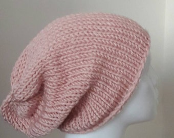 Knit pale pink slouchy beanie ,pink chunky knit beanie , slouchy knit beanie, pale pink knit hat , knit winter hat , slouchy warm beanie